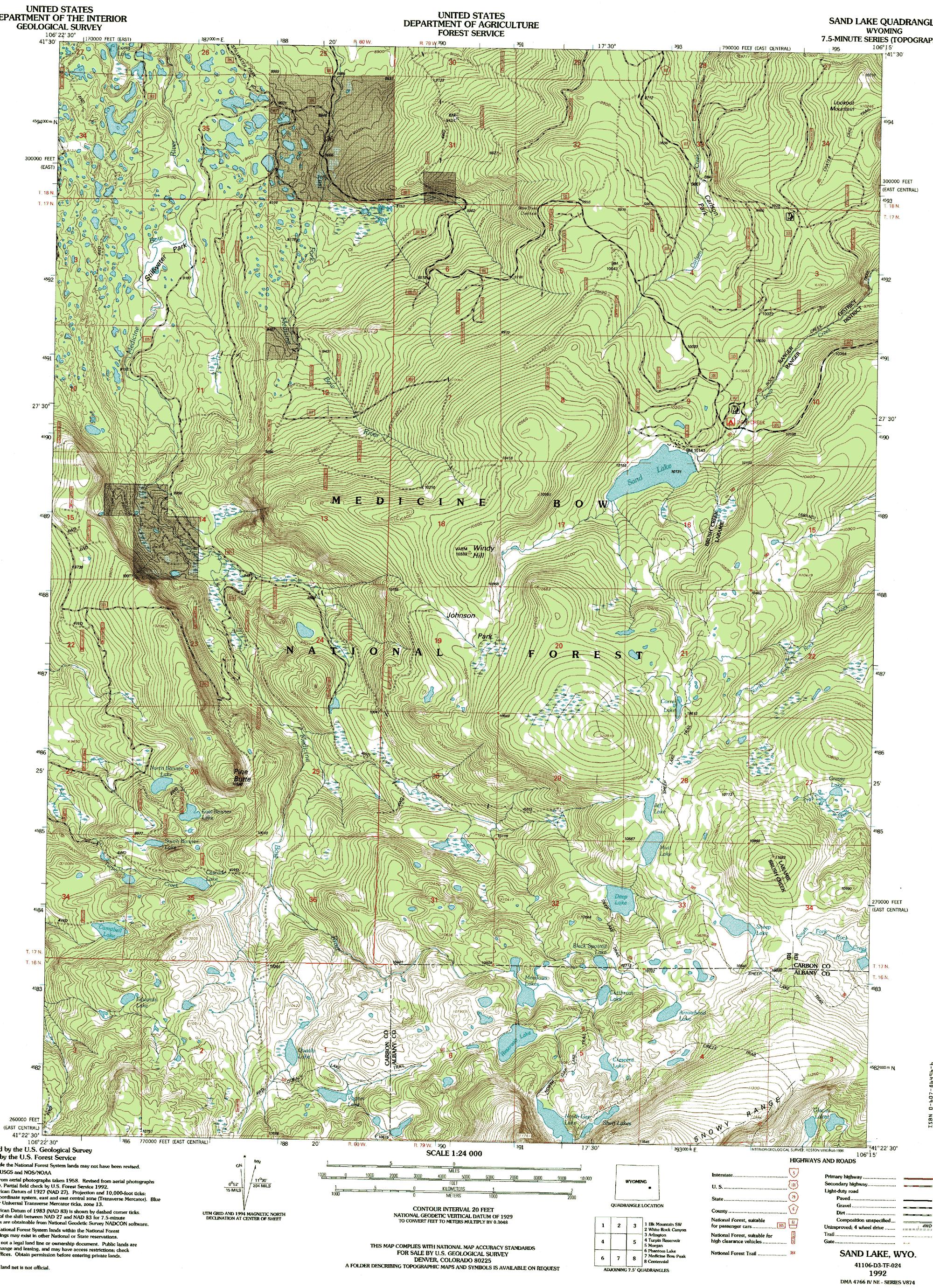 Snowy Range Wyoming Map.Shelf Lakes Wyoming