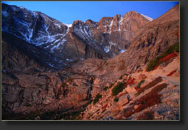 East face of Longs Peak in the pre-dawn glow
