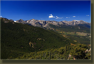 Looking west towards Glacier Gorge, Hallet Peak, Flattop Peak from Estes Cone