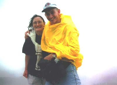 Mom and I on Grey Rock in nasty weather. May, 1997.