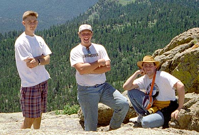Myself, Rob and Chuck at the top of Grey Rock, June 1996