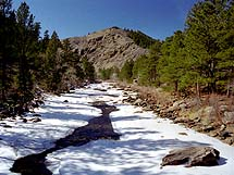 Poudre River from the bridge on the trail. March, 2001.
