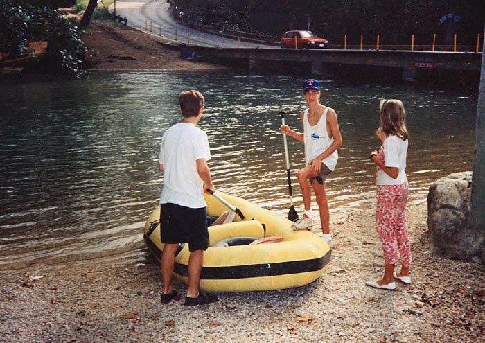 Sam, Trevor and Jaclyn, just before launching off into the Guadalupe River