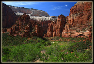 Looking across Zion Canyon at Angels Landing and The Organ