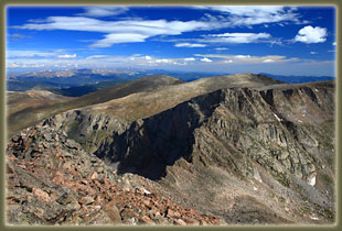 View from Mt Bierstadt towards Mt Evans