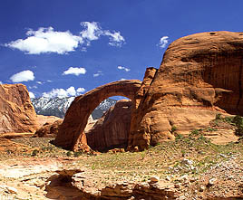 Rainbow Bridge with Navajo Mt in the background