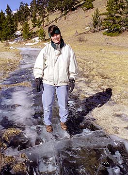 Andra on a frozen creek in Beaver Meadows