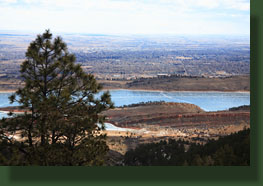 Horsetooth Reservoir  and Fort Collins from the Timber Trail