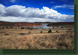 Frozen Horsetooth Reservoir from the West Valley Trail